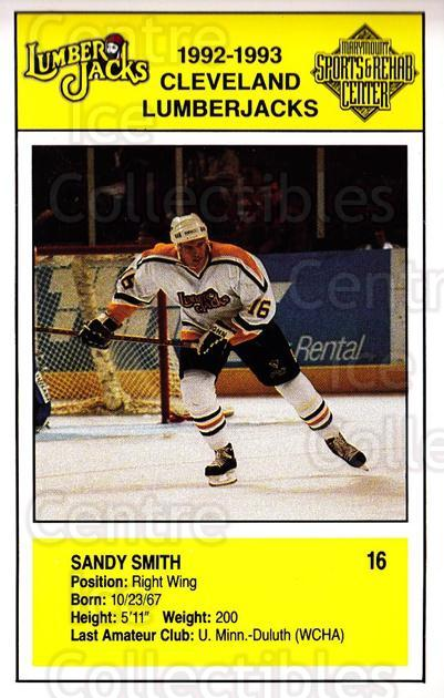 1992-93 Cleveland Lumberjacks Postcards #8 Sandy Smith<br/>2 In Stock - $3.00 each - <a href=https://centericecollectibles.foxycart.com/cart?name=1992-93%20Cleveland%20Lumberjacks%20Postcards%20%238%20Sandy%20Smith...&quantity_max=2&price=$3.00&code=302113 class=foxycart> Buy it now! </a>