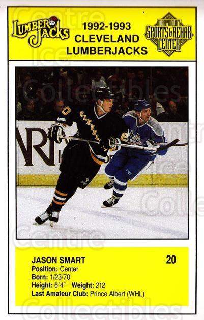 1992-93 Cleveland Lumberjacks Postcards #9 Jason Smart<br/>2 In Stock - $3.00 each - <a href=https://centericecollectibles.foxycart.com/cart?name=1992-93%20Cleveland%20Lumberjacks%20Postcards%20%239%20Jason%20Smart...&quantity_max=2&price=$3.00&code=302114 class=foxycart> Buy it now! </a>