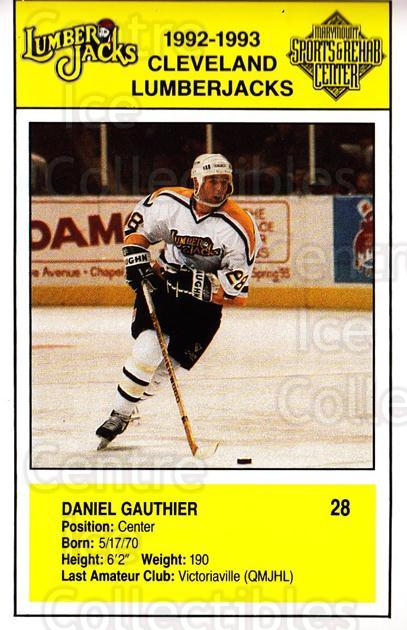 1992-93 Cleveland Lumberjacks Postcards #15 Daniel Gauthier<br/>2 In Stock - $3.00 each - <a href=https://centericecollectibles.foxycart.com/cart?name=1992-93%20Cleveland%20Lumberjacks%20Postcards%20%2315%20Daniel%20Gauthier...&quantity_max=2&price=$3.00&code=302120 class=foxycart> Buy it now! </a>