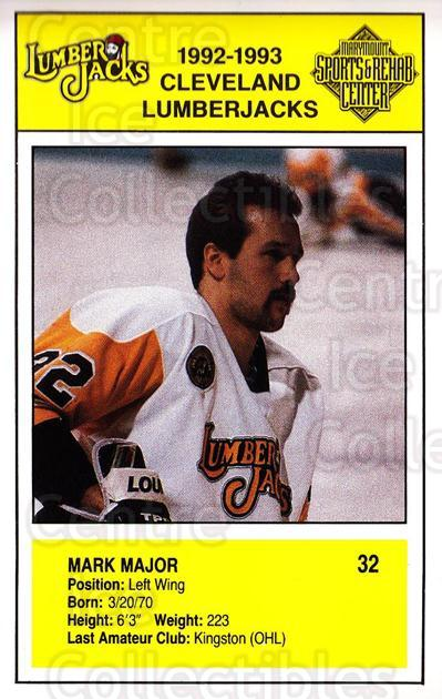 1992-93 Cleveland Lumberjacks Postcards #17 Mark Major<br/>1 In Stock - $3.00 each - <a href=https://centericecollectibles.foxycart.com/cart?name=1992-93%20Cleveland%20Lumberjacks%20Postcards%20%2317%20Mark%20Major...&quantity_max=1&price=$3.00&code=302122 class=foxycart> Buy it now! </a>