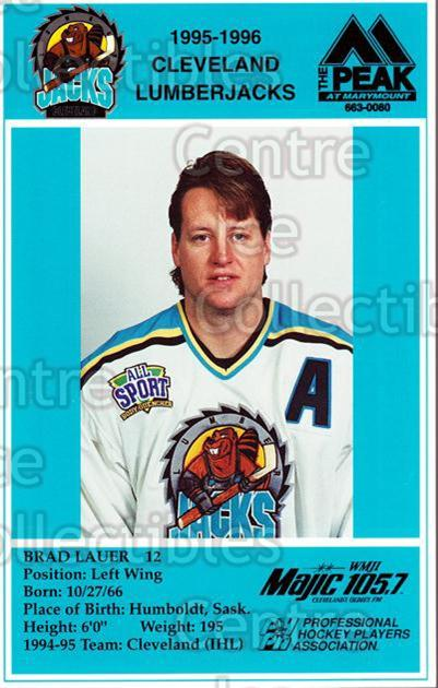 1995-96 Cleveland Lumberjacks Postcards #17 Brad Lauer<br/>6 In Stock - $3.00 each - <a href=https://centericecollectibles.foxycart.com/cart?name=1995-96%20Cleveland%20Lumberjacks%20Postcards%20%2317%20Brad%20Lauer...&quantity_max=6&price=$3.00&code=302130 class=foxycart> Buy it now! </a>