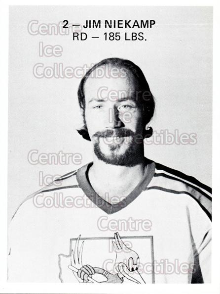 1975-76 Phoenix Roadrunners WHA #19 Jim Niekamp<br/>1 In Stock - $3.00 each - <a href=https://centericecollectibles.foxycart.com/cart?name=1975-76%20Phoenix%20Roadrunners%20WHA%20%2319%20Jim%20Niekamp...&quantity_max=1&price=$3.00&code=30224 class=foxycart> Buy it now! </a>