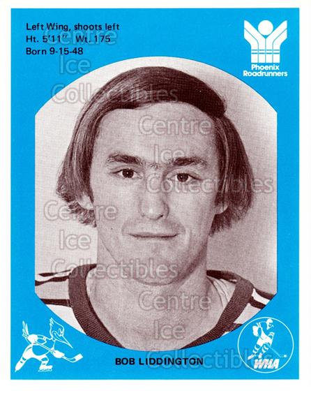 1976-77 Phoenix Roadrunners WHA #12 Bob Liddington<br/>6 In Stock - $3.00 each - <a href=https://centericecollectibles.foxycart.com/cart?name=1976-77%20Phoenix%20Roadrunners%20WHA%20%2312%20Bob%20Liddington...&quantity_max=6&price=$3.00&code=30237 class=foxycart> Buy it now! </a>