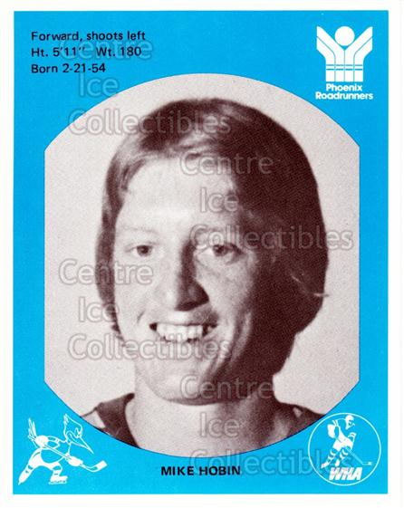 1976-77 Phoenix Roadrunners WHA #7 Mike Hobin<br/>3 In Stock - $3.00 each - <a href=https://centericecollectibles.foxycart.com/cart?name=1976-77%20Phoenix%20Roadrunners%20WHA%20%237%20Mike%20Hobin...&quantity_max=3&price=$3.00&code=30245 class=foxycart> Buy it now! </a>