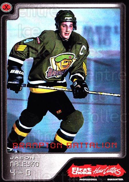 1999-00 Brampton Battalion #6 Jason Maleyko<br/>1 In Stock - $3.00 each - <a href=https://centericecollectibles.foxycart.com/cart?name=1999-00%20Brampton%20Battalion%20%236%20Jason%20Maleyko...&price=$3.00&code=302936 class=foxycart> Buy it now! </a>