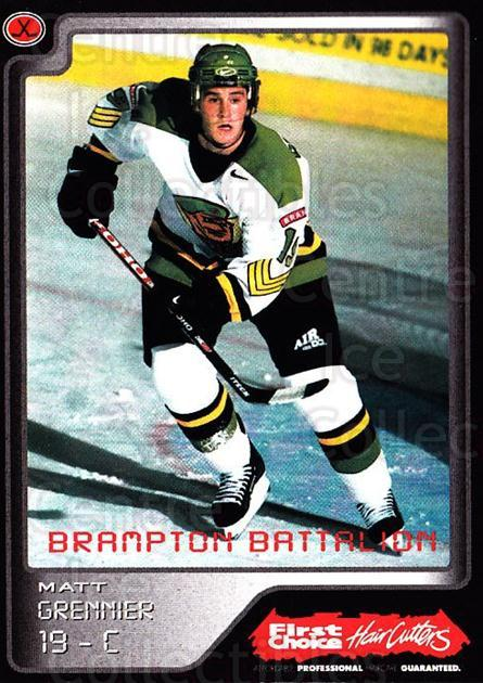 1999-00 Brampton Battalion #18 Matt Grennier<br/>1 In Stock - $3.00 each - <a href=https://centericecollectibles.foxycart.com/cart?name=1999-00%20Brampton%20Battalion%20%2318%20Matt%20Grennier...&price=$3.00&code=302948 class=foxycart> Buy it now! </a>
