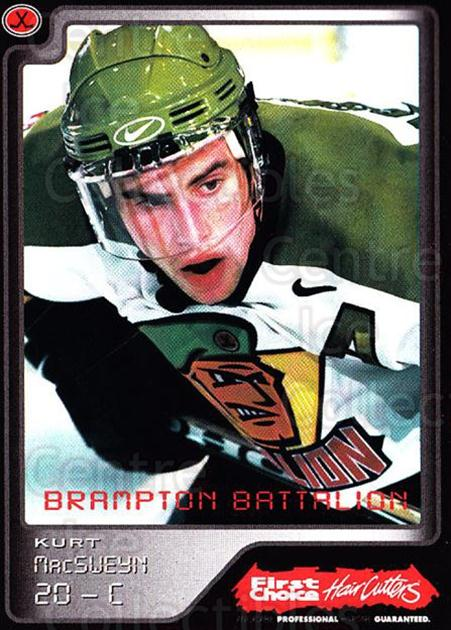 1999-00 Brampton Battalion #19 Kurt MacSweyn<br/>1 In Stock - $3.00 each - <a href=https://centericecollectibles.foxycart.com/cart?name=1999-00%20Brampton%20Battalion%20%2319%20Kurt%20MacSweyn...&price=$3.00&code=302949 class=foxycart> Buy it now! </a>