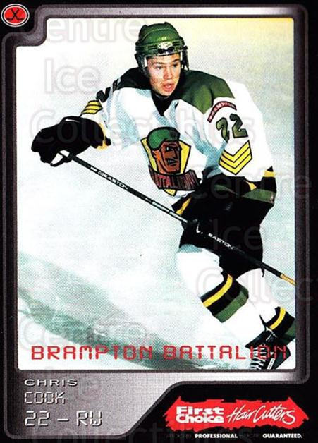 1999-00 Brampton Battalion #21 Chris Cook<br/>3 In Stock - $3.00 each - <a href=https://centericecollectibles.foxycart.com/cart?name=1999-00%20Brampton%20Battalion%20%2321%20Chris%20Cook...&price=$3.00&code=302951 class=foxycart> Buy it now! </a>