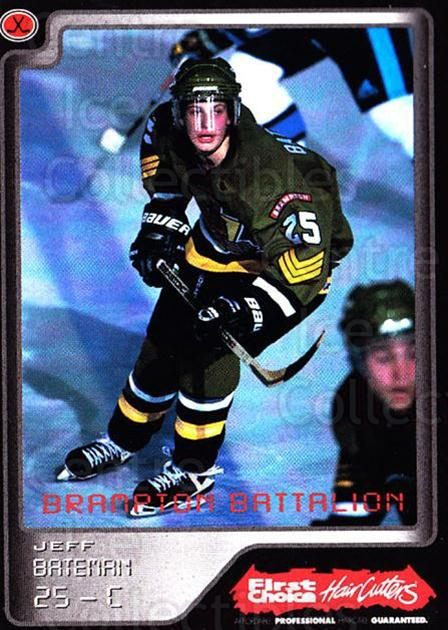 1999-00 Brampton Battalion #24 Jeff Bateman<br/>1 In Stock - $3.00 each - <a href=https://centericecollectibles.foxycart.com/cart?name=1999-00%20Brampton%20Battalion%20%2324%20Jeff%20Bateman...&price=$3.00&code=302954 class=foxycart> Buy it now! </a>