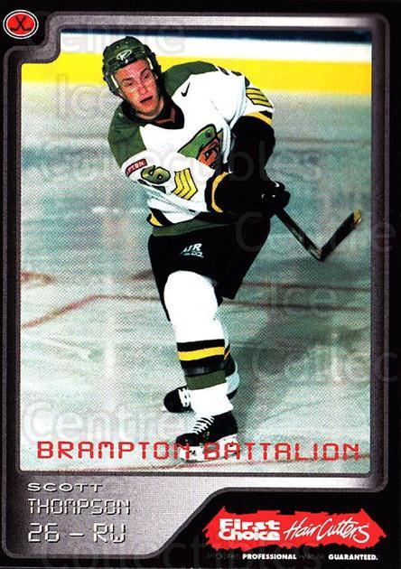 1999-00 Brampton Battalion #25 Scott Thompson<br/>1 In Stock - $3.00 each - <a href=https://centericecollectibles.foxycart.com/cart?name=1999-00%20Brampton%20Battalion%20%2325%20Scott%20Thompson...&price=$3.00&code=302955 class=foxycart> Buy it now! </a>
