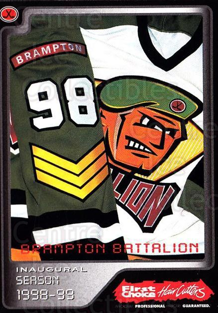 1999-00 Brampton Battalion #32 Brampton Battalion, Header Card<br/>2 In Stock - $3.00 each - <a href=https://centericecollectibles.foxycart.com/cart?name=1999-00%20Brampton%20Battalion%20%2332%20Brampton%20Battal...&price=$3.00&code=302962 class=foxycart> Buy it now! </a>
