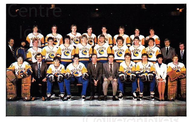 1983-84 Saskatoon Blades #1 Saskatoon Blades, Team Photo<br/>2 In Stock - $5.00 each - <a href=https://centericecollectibles.foxycart.com/cart?name=1983-84%20Saskatoon%20Blades%20%231%20Saskatoon%20Blade...&quantity_max=2&price=$5.00&code=302963 class=foxycart> Buy it now! </a>