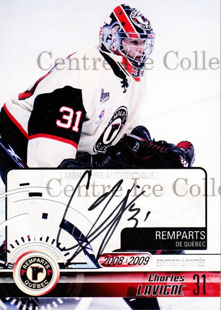 2008-09 Quebec Remparts Autographed #2 Charles Lavigne<br/>2 In Stock - $5.00 each - <a href=https://centericecollectibles.foxycart.com/cart?name=2008-09%20Quebec%20Remparts%20Autographed%20%232%20Charles%20Lavigne...&price=$5.00&code=303685 class=foxycart> Buy it now! </a>