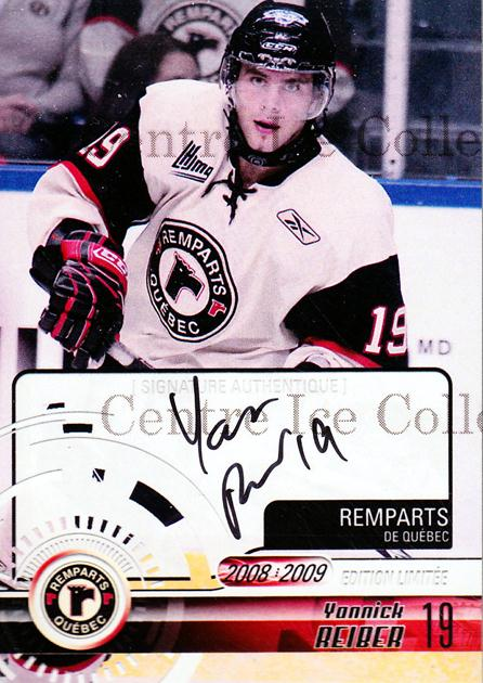 2008-09 Quebec Remparts Autographed #11 Yannick Reiber<br/>3 In Stock - $5.00 each - <a href=https://centericecollectibles.foxycart.com/cart?name=2008-09%20Quebec%20Remparts%20Autographed%20%2311%20Yannick%20Reiber...&price=$5.00&code=303694 class=foxycart> Buy it now! </a>