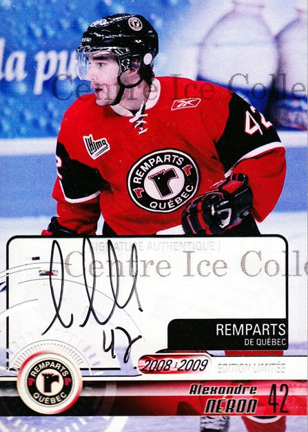 2008-09 Quebec Remparts Autographed #17 Alexandre Neron<br/>3 In Stock - $5.00 each - <a href=https://centericecollectibles.foxycart.com/cart?name=2008-09%20Quebec%20Remparts%20Autographed%20%2317%20Alexandre%20Neron...&price=$5.00&code=303700 class=foxycart> Buy it now! </a>