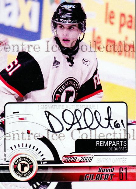 2008-09 Quebec Remparts Autographed #21 David Gilbert<br/>2 In Stock - $5.00 each - <a href=https://centericecollectibles.foxycart.com/cart?name=2008-09%20Quebec%20Remparts%20Autographed%20%2321%20David%20Gilbert...&price=$5.00&code=303704 class=foxycart> Buy it now! </a>