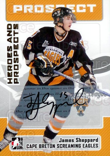 2006-07 ITG Heroes and Prospects Auto #AJSH James Sheppard<br/>3 In Stock - $5.00 each - <a href=https://centericecollectibles.foxycart.com/cart?name=2006-07%20ITG%20Heroes%20and%20Prospects%20Auto%20%23AJSH%20James%20Sheppard...&price=$5.00&code=303722 class=foxycart> Buy it now! </a>