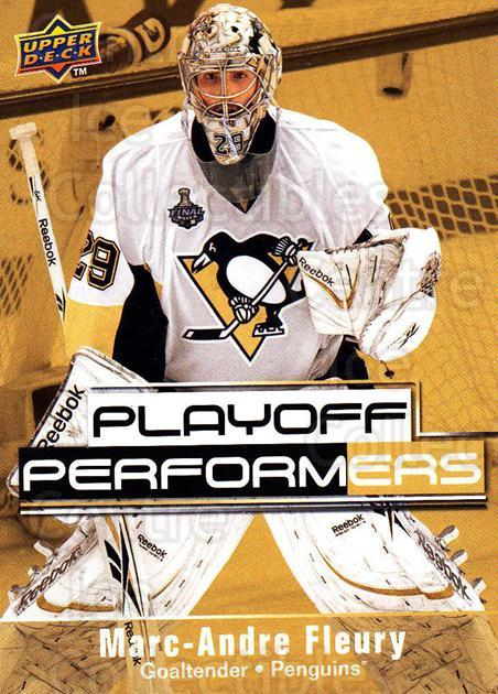 2009-10 Upper Deck Playoff Performers #8 Marc-Andre Fleury<br/>3 In Stock - $2.00 each - <a href=https://centericecollectibles.foxycart.com/cart?name=2009-10%20Upper%20Deck%20Playoff%20Performers%20%238%20Marc-Andre%20Fleu...&quantity_max=3&price=$2.00&code=303759 class=foxycart> Buy it now! </a>