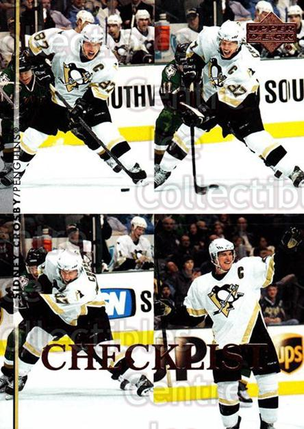 2007-08 Upper Deck #200 Sidney Crosby, Checklist<br/>40 In Stock - $3.00 each - <a href=https://centericecollectibles.foxycart.com/cart?name=2007-08%20Upper%20Deck%20%23200%20Sidney%20Crosby,%20...&quantity_max=40&price=$3.00&code=303914 class=foxycart> Buy it now! </a>