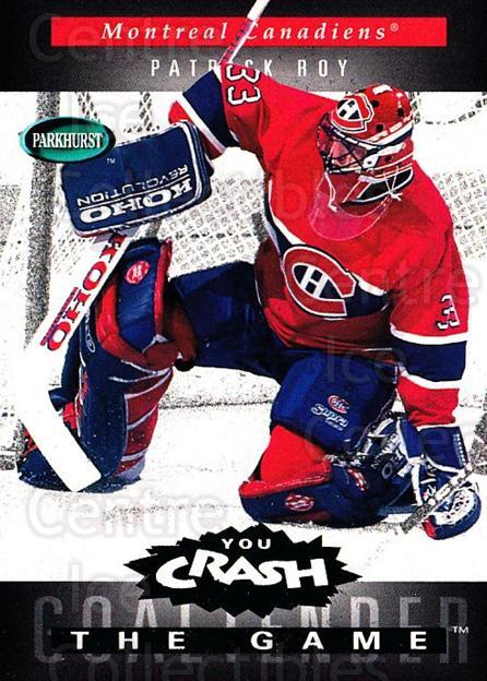 1994-95 Parkhurst Crash the Game Emerald #H12 Patrick Roy<br/>2 In Stock - $10.00 each - <a href=https://centericecollectibles.foxycart.com/cart?name=1994-95%20Parkhurst%20Crash%20the%20Game%20Emerald%20%23H12%20Patrick%20Roy...&quantity_max=2&price=$10.00&code=304290 class=foxycart> Buy it now! </a>