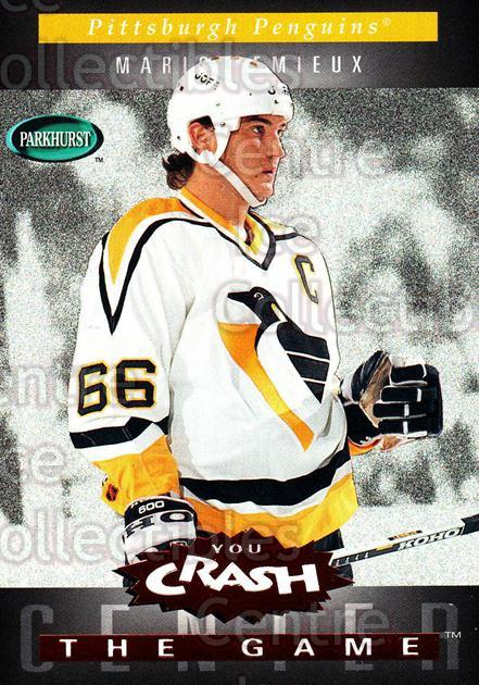 1994-95 Parkhurst Crash the Game Red #C18 Mario Lemieux<br/>1 In Stock - $10.00 each - <a href=https://centericecollectibles.foxycart.com/cart?name=1994-95%20Parkhurst%20Crash%20the%20Game%20Red%20%23C18%20Mario%20Lemieux...&quantity_max=1&price=$10.00&code=304300 class=foxycart> Buy it now! </a>