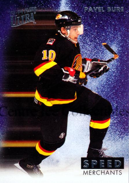 1993-94 Ultra Speed Merchants #1 Pavel Bure<br/>2 In Stock - $10.00 each - <a href=https://centericecollectibles.foxycart.com/cart?name=1993-94%20Ultra%20Speed%20Merchants%20%231%20Pavel%20Bure...&quantity_max=2&price=$10.00&code=304334 class=foxycart> Buy it now! </a>