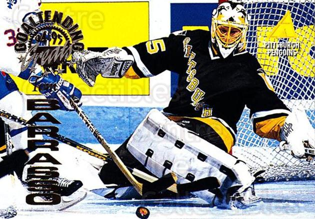 1994-95 Pinnacle Goaltending Greats #17 Tom Barrasso<br/>4 In Stock - $3.00 each - <a href=https://centericecollectibles.foxycart.com/cart?name=1994-95%20Pinnacle%20Goaltending%20Greats%20%2317%20Tom%20Barrasso...&price=$3.00&code=304540 class=foxycart> Buy it now! </a>