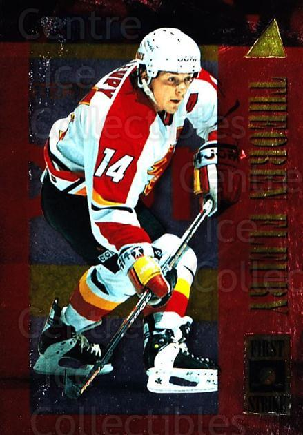 1995-96 Pinnacle First Strike #15 Theo Fleury<br/>4 In Stock - $3.00 each - <a href=https://centericecollectibles.foxycart.com/cart?name=1995-96%20Pinnacle%20First%20Strike%20%2315%20Theo%20Fleury...&quantity_max=4&price=$3.00&code=304601 class=foxycart> Buy it now! </a>