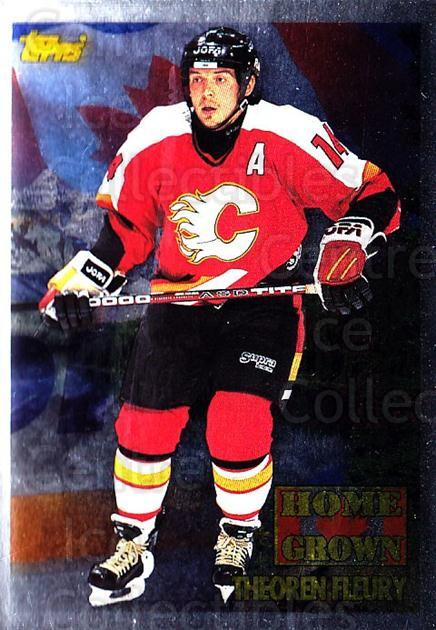 1995-96 Topps Home Grown Canada #5 Theo Fleury<br/>4 In Stock - $5.00 each - <a href=https://centericecollectibles.foxycart.com/cart?name=1995-96%20Topps%20Home%20Grown%20Canada%20%235%20Theo%20Fleury...&quantity_max=4&price=$5.00&code=305003 class=foxycart> Buy it now! </a>