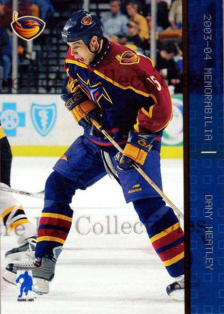 2003-04 BAP Memorabilia Sapphire #20 Dany Heatley<br/>3 In Stock - $5.00 each - <a href=https://centericecollectibles.foxycart.com/cart?name=2003-04%20BAP%20Memorabilia%20Sapphire%20%2320%20Dany%20Heatley...&quantity_max=3&price=$5.00&code=305043 class=foxycart> Buy it now! </a>