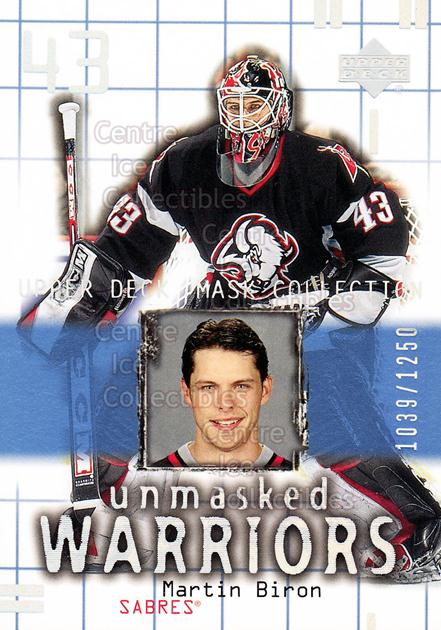 2001-02 UD Mask Collection #172 Martin Biron<br/>6 In Stock - $3.00 each - <a href=https://centericecollectibles.foxycart.com/cart?name=2001-02%20UD%20Mask%20Collection%20%23172%20Martin%20Biron...&quantity_max=6&price=$3.00&code=305390 class=foxycart> Buy it now! </a>