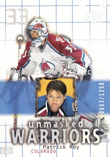 2001-02 UD Mask Collection #175 Patrick Roy<br/>1 In Stock - $10.00 each - <a href=https://centericecollectibles.foxycart.com/cart?name=2001-02%20UD%20Mask%20Collection%20%23175%20Patrick%20Roy...&price=$10.00&code=305393 class=foxycart> Buy it now! </a>