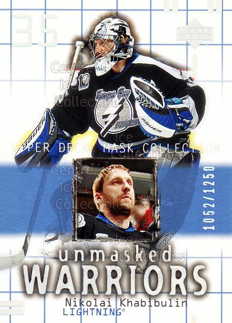 2001-02 UD Mask Collection #188 Nikolai Khabibulin<br/>10 In Stock - $3.00 each - <a href=https://centericecollectibles.foxycart.com/cart?name=2001-02%20UD%20Mask%20Collection%20%23188%20Nikolai%20Khabibu...&quantity_max=10&price=$3.00&code=305404 class=foxycart> Buy it now! </a>