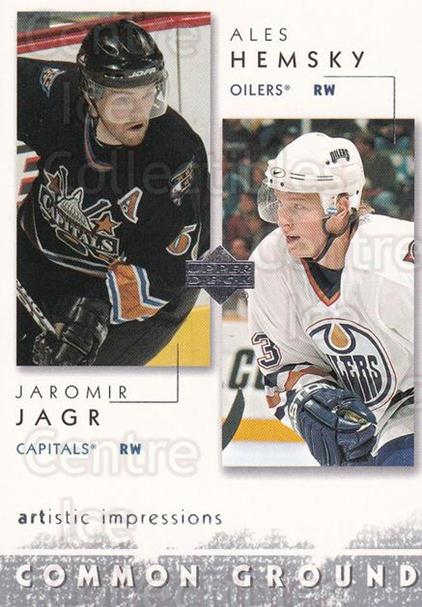 2002-03 UD Artistic Impressions Common Ground #2 Jaromir Jagr, Ales Hemsky<br/>1 In Stock - $3.00 each - <a href=https://centericecollectibles.foxycart.com/cart?name=2002-03%20UD%20Artistic%20Impressions%20Common%20Ground%20%232%20Jaromir%20Jagr,%20A...&quantity_max=1&price=$3.00&code=305450 class=foxycart> Buy it now! </a>