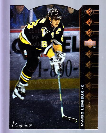 1994-95 Upper Deck SP Inserts Die Cuts #61 Mario Lemieux<br/>3 In Stock - $10.00 each - <a href=https://centericecollectibles.foxycart.com/cart?name=1994-95%20Upper%20Deck%20SP%20Inserts%20Die%20Cuts%20%2361%20Mario%20Lemieux...&quantity_max=3&price=$10.00&code=306377 class=foxycart> Buy it now! </a>