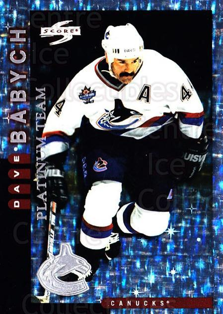 1997-98 Score Vancouver Canucks Platinum #20 Dave Babych<br/>1 In Stock - $5.00 each - <a href=https://centericecollectibles.foxycart.com/cart?name=1997-98%20Score%20Vancouver%20Canucks%20Platinum%20%2320%20Dave%20Babych...&quantity_max=1&price=$5.00&code=307051 class=foxycart> Buy it now! </a>