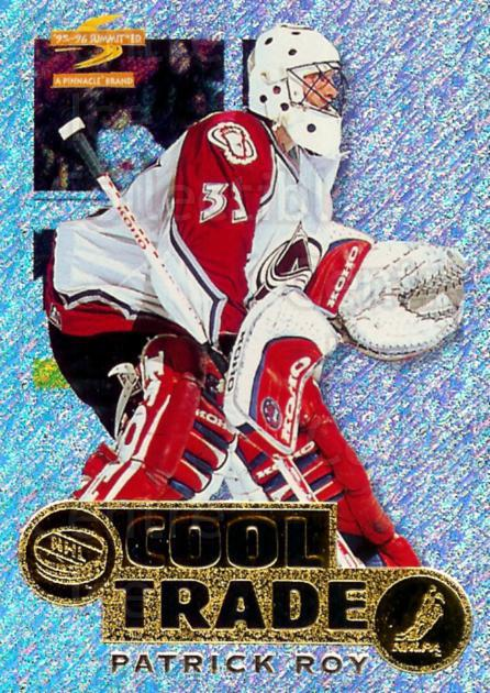1995-96 NHL Cool Trade Redemption #16 Patrick Roy<br/>5 In Stock - $10.00 each - <a href=https://centericecollectibles.foxycart.com/cart?name=1995-96%20NHL%20Cool%20Trade%20Redemption%20%2316%20Patrick%20Roy...&quantity_max=5&price=$10.00&code=307251 class=foxycart> Buy it now! </a>