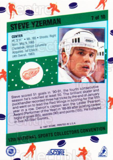 1991 Score National #7 Steve Yzerman<br/>15 In Stock - $5.00 each - <a href=https://centericecollectibles.foxycart.com/cart?name=1991%20Score%20National%20%237%20Steve%20Yzerman...&price=$5.00&code=307257 class=foxycart> Buy it now! </a>