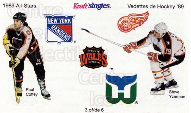 1989-90 Kraft Singles Stickers #3 Paul Coffey, Steve Yzerman<br/>1 In Stock - $10.00 each - <a href=https://centericecollectibles.foxycart.com/cart?name=1989-90%20Kraft%20Singles%20Stickers%20%233%20Paul%20Coffey,%20St...&quantity_max=1&price=$10.00&code=307546 class=foxycart> Buy it now! </a>