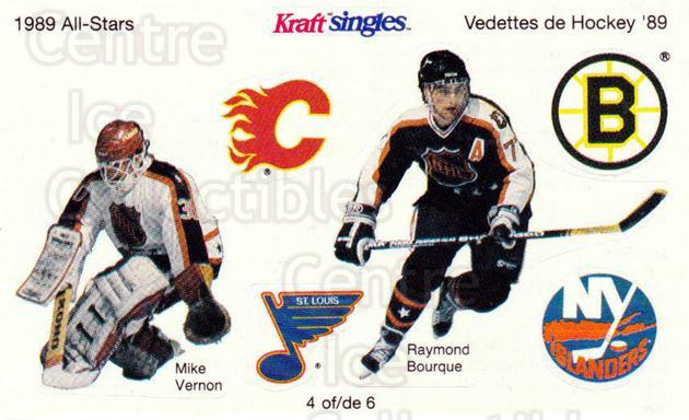 1989-90 Kraft Singles Stickers #4 Mike Vernon, Ray Bourque<br/>1 In Stock - $5.00 each - <a href=https://centericecollectibles.foxycart.com/cart?name=1989-90%20Kraft%20Singles%20Stickers%20%234%20Mike%20Vernon,%20Ra...&quantity_max=1&price=$5.00&code=307547 class=foxycart> Buy it now! </a>