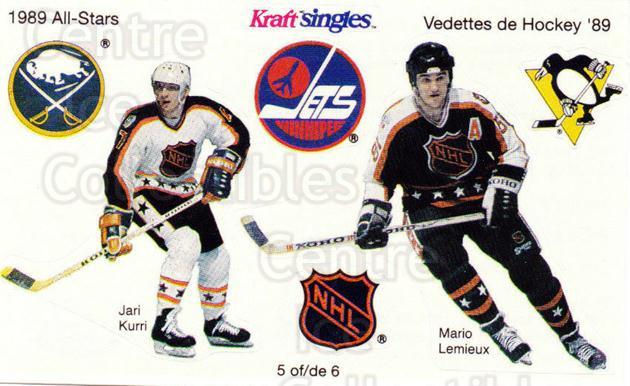 1989-90 Kraft Singles Stickers #5 Jari Kurri, Mario Lemieux<br/>1 In Stock - $10.00 each - <a href=https://centericecollectibles.foxycart.com/cart?name=1989-90%20Kraft%20Singles%20Stickers%20%235%20Jari%20Kurri,%20Mar...&quantity_max=1&price=$10.00&code=307548 class=foxycart> Buy it now! </a>