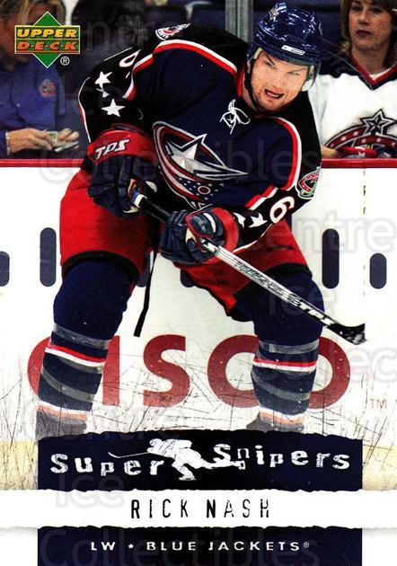 2007-08 Upper Deck Super Snipers #20 Rick Nash<br/>5 In Stock - $2.00 each - <a href=https://centericecollectibles.foxycart.com/cart?name=2007-08%20Upper%20Deck%20Super%20Snipers%20%2320%20Rick%20Nash...&quantity_max=5&price=$2.00&code=308585 class=foxycart> Buy it now! </a>