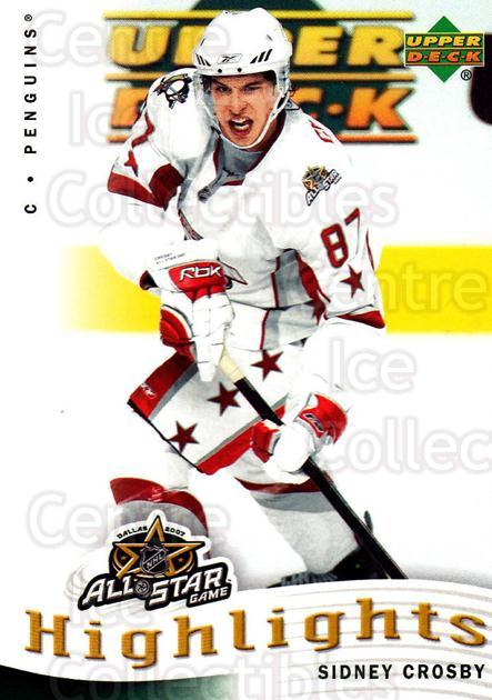 2007-08 Upper Deck AS Highlights #6 Sidney Crosby<br/>7 In Stock - $5.00 each - <a href=https://centericecollectibles.foxycart.com/cart?name=2007-08%20Upper%20Deck%20AS%20Highlights%20%236%20Sidney%20Crosby...&quantity_max=7&price=$5.00&code=308592 class=foxycart> Buy it now! </a>