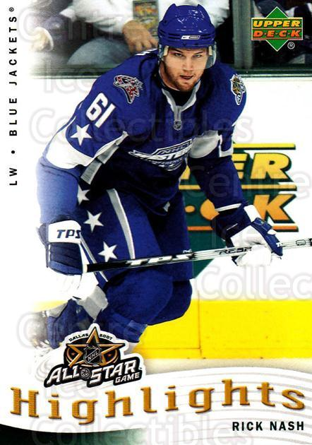 2007-08 Upper Deck AS Highlights #9 Rick Nash<br/>9 In Stock - $2.00 each - <a href=https://centericecollectibles.foxycart.com/cart?name=2007-08%20Upper%20Deck%20AS%20Highlights%20%239%20Rick%20Nash...&quantity_max=9&price=$2.00&code=308595 class=foxycart> Buy it now! </a>