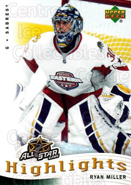 2007-08 Upper Deck AS Highlights #20 Ryan Miller<br/>8 In Stock - $2.00 each - <a href=https://centericecollectibles.foxycart.com/cart?name=2007-08%20Upper%20Deck%20AS%20Highlights%20%2320%20Ryan%20Miller...&quantity_max=8&price=$2.00&code=308606 class=foxycart> Buy it now! </a>