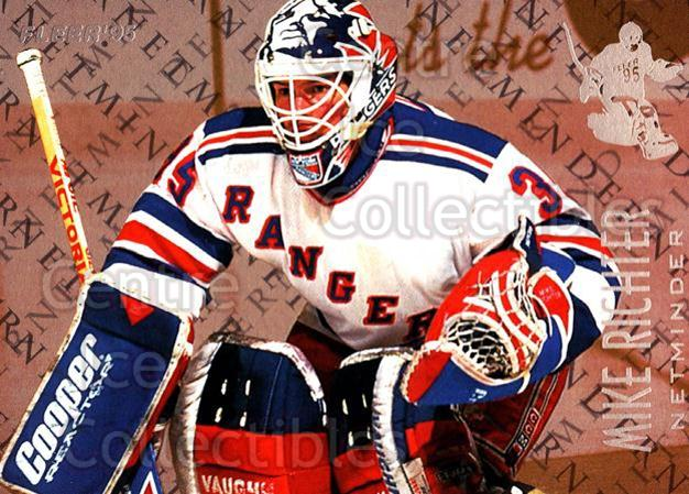 1994-95 Fleer Netminders #8 Mike Richter<br/>8 In Stock - $2.00 each - <a href=https://centericecollectibles.foxycart.com/cart?name=1994-95%20Fleer%20Netminders%20%238%20Mike%20Richter...&quantity_max=8&price=$2.00&code=30866 class=foxycart> Buy it now! </a>