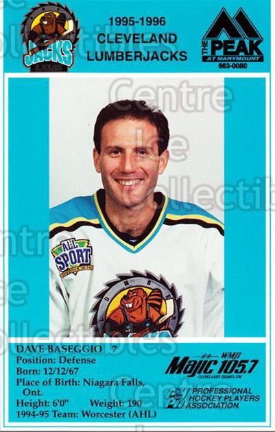 1995-96 Cleveland Lumberjacks Postcards #4 Dave Baseggio<br/>4 In Stock - $3.00 each - <a href=https://centericecollectibles.foxycart.com/cart?name=1995-96%20Cleveland%20Lumberjacks%20Postcards%20%234%20Dave%20Baseggio...&quantity_max=4&price=$3.00&code=308797 class=foxycart> Buy it now! </a>