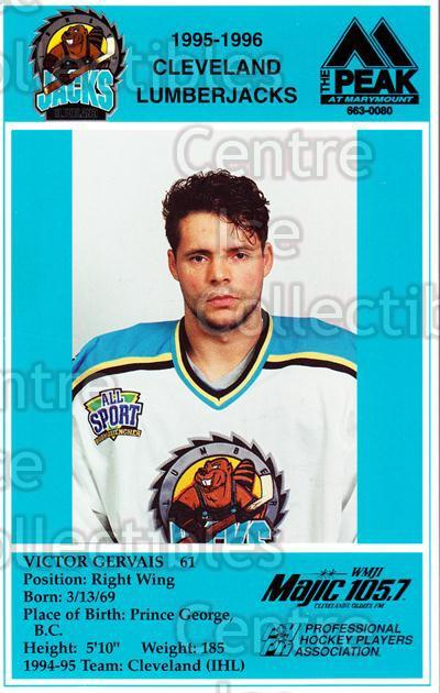 1995-96 Cleveland Lumberjacks Postcards #14 Victor Gervais<br/>5 In Stock - $3.00 each - <a href=https://centericecollectibles.foxycart.com/cart?name=1995-96%20Cleveland%20Lumberjacks%20Postcards%20%2314%20Victor%20Gervais...&quantity_max=5&price=$3.00&code=308803 class=foxycart> Buy it now! </a>