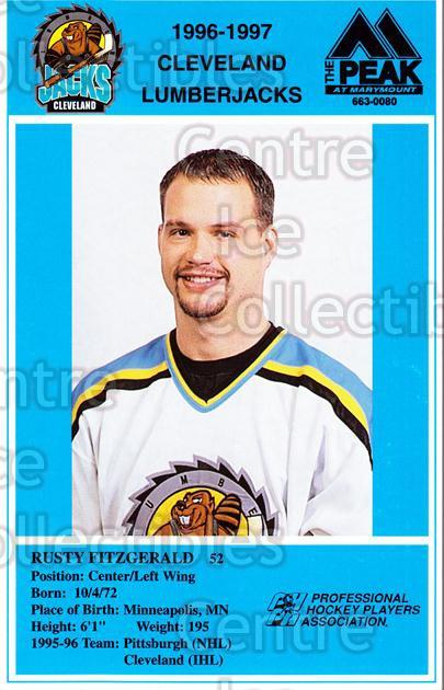 1996-97 Cleveland Lumberjacks Postcards #8 Rusty Fitzgerald<br/>3 In Stock - $3.00 each - <a href=https://centericecollectibles.foxycart.com/cart?name=1996-97%20Cleveland%20Lumberjacks%20Postcards%20%238%20Rusty%20Fitzgeral...&price=$3.00&code=308822 class=foxycart> Buy it now! </a>
