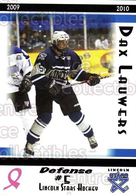 2009-10 Lincoln Stars #5 Dax Lauwers<br/>1 In Stock - $3.00 each - <a href=https://centericecollectibles.foxycart.com/cart?name=2009-10%20Lincoln%20Stars%20%235%20Dax%20Lauwers...&quantity_max=1&price=$3.00&code=308915 class=foxycart> Buy it now! </a>